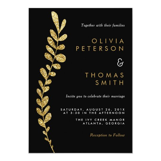 Colour Editable Faux Gold Leaf Wedding Invitation