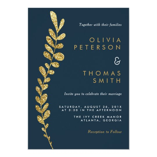 Colour Editable Faux Gold Leaf Wedding Invitation