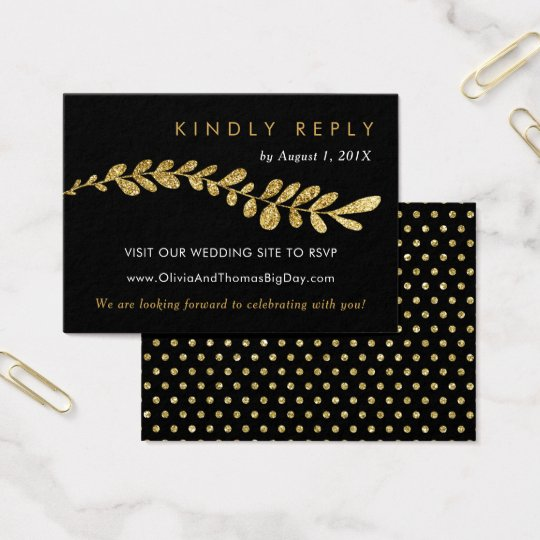 Colour Editable Faux Gold Leaf Wedding RSVP Card