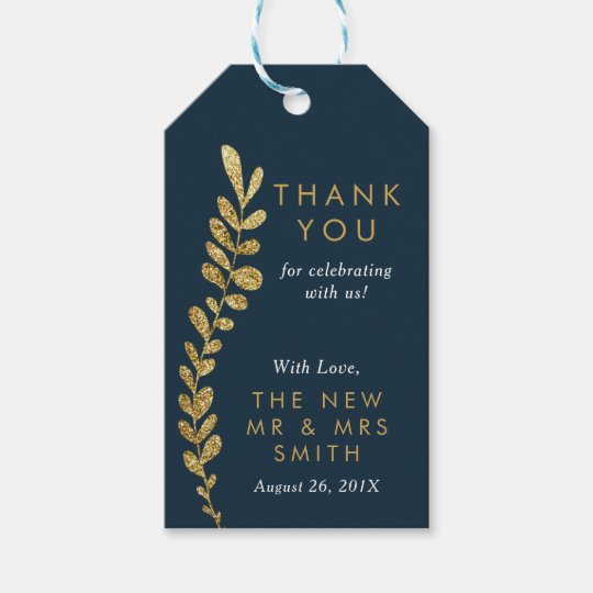 Colour Editable Gold Leaf Thank You Favour Tag
