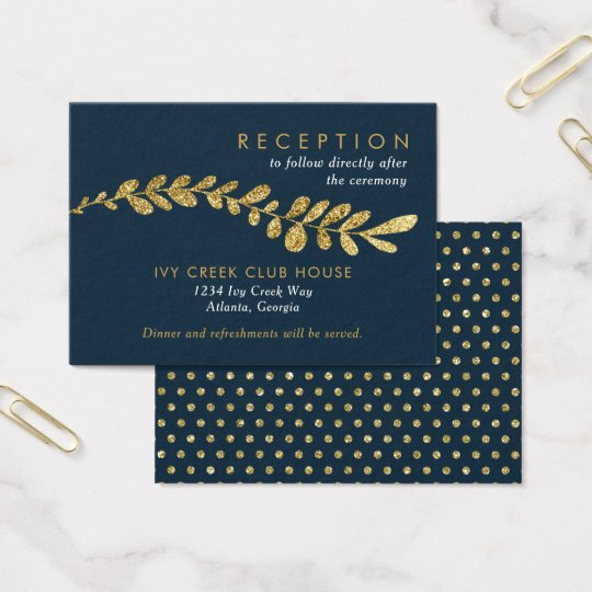Colour Editable Gold Leaf Wedding Reception Card