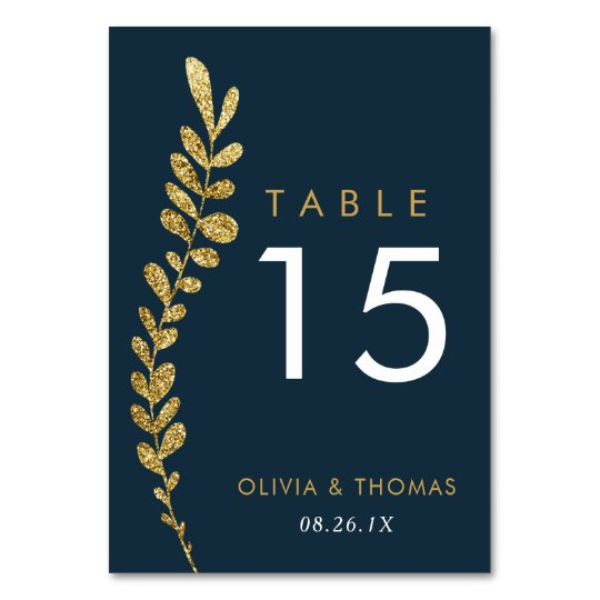 Colour Editable Gold Leaf Wedding Table Number