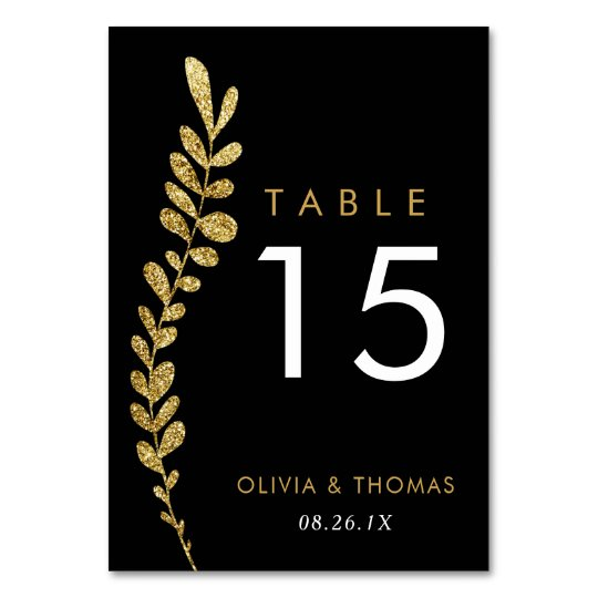 Colour Editable Gold Leaf Wedding Table Number Table Cards