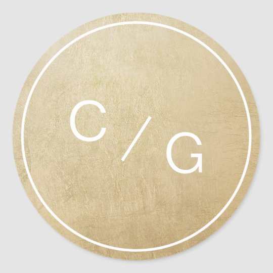 Colour editable minimalist modern couple monogram classic round