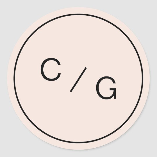 Colour editable minimalist modern couple monogram classic round