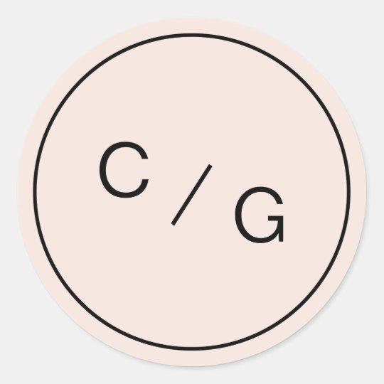 Colour editable minimalist modern couple monogram round sticker