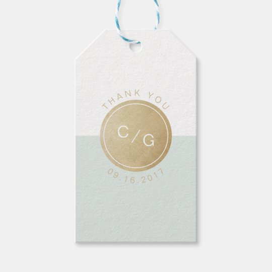 Colour editable minimalist modern wedding monogram gift tags