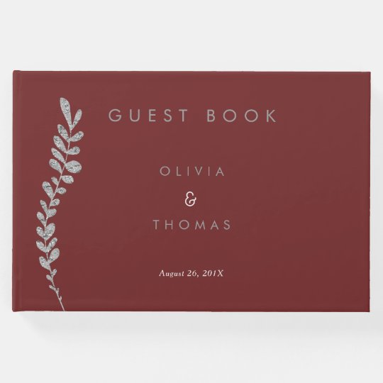 Colour Editable Silver Leaf Wedding Guest Book