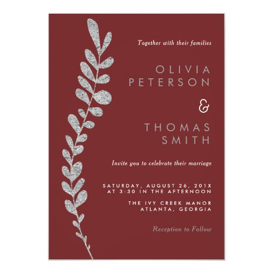 Colour Editable Silver Leaf Wedding Invitation