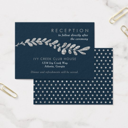 Colour Editable Silver Leaf Wedding Reception Card