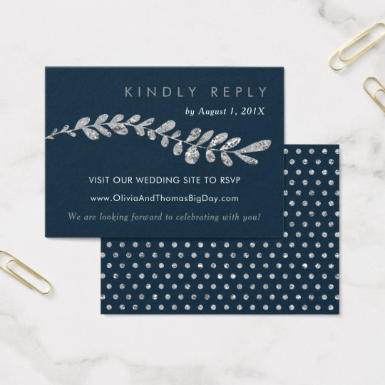Colour Editable Silver Leaf Wedding RSVP Card