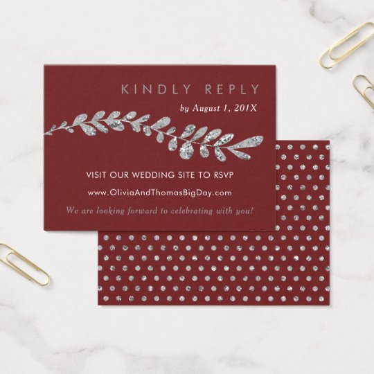 Colour Editable Silver Leaf Wedding RSVP Card