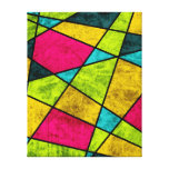 Colour glass abstract geometric neon canvas print