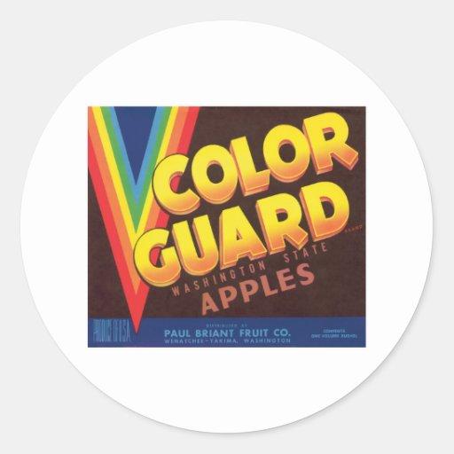 Colour Guard Vintage Apples Label Round Stickers