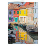 Colour houses in Venice island Burano Italy Greeting Card