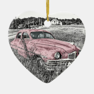 Colour Isolated Vintage Car in Field Ceramic Heart Decoration
