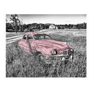 Colour Isolated Vintage Car in Field Postcard