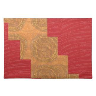 Colour joy,GOLD CIRCLES UNIQUE RED SILKEN BASE Place Mats