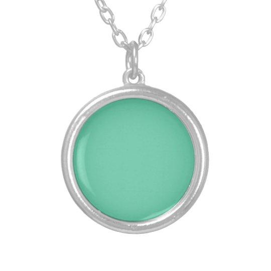 colour medium aquamarine silver plated necklace
