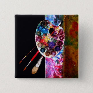 COLOUR PALETTE AND BRUSHERS ,Painter,Artist 15 Cm Square Badge