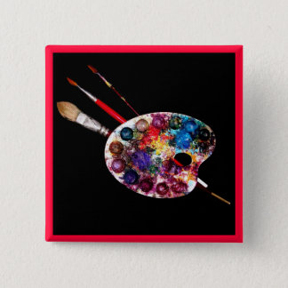 COLOUR PALETTE,Painter,Artist 15 Cm Square Badge