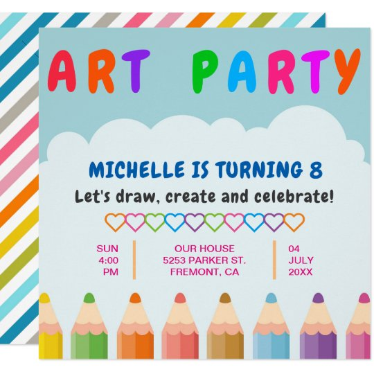 Colour Pencils Kids Art Party Birthday Invitation