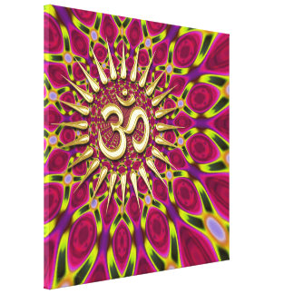 Colour Rays Gold Om Sign Psychedelic Canvas Canvas Print