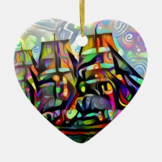Colour ship christmas ornament