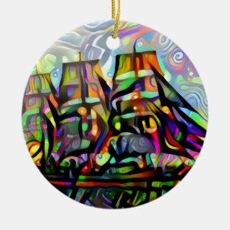 Colour ship round ceramic decoration