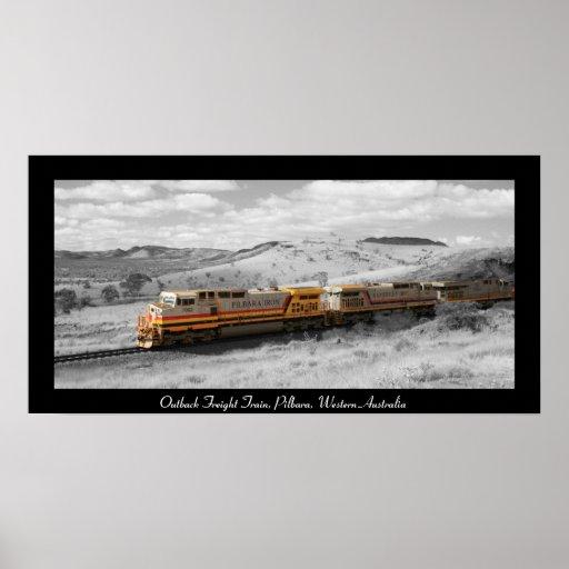 Colour Splash Photograph - Outback Freight Train Poster
