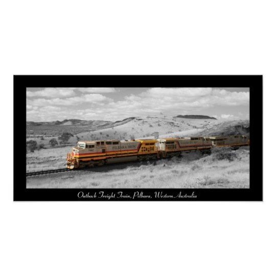 Colour Splash Photograph - Outback Freight Train Poster