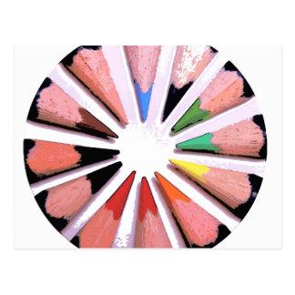 Colour wheel cartoon postcard