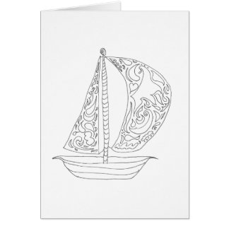 Colour Your Own Card - Sailboat