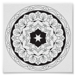 Colour-Your-Own Floral Mandala 060517_4 Poster