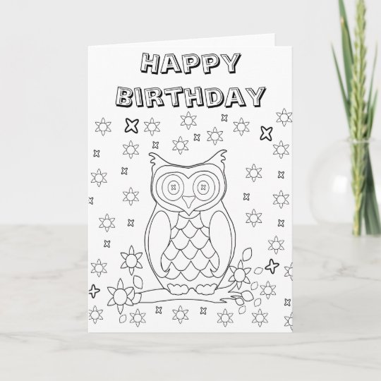 Colour Your Own Owl Diy Gifts Card Zazzle