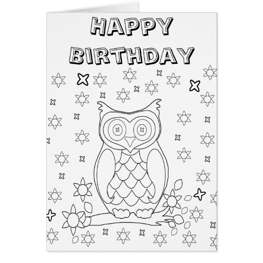 Colour Your Own Owl DIY Gifts Card