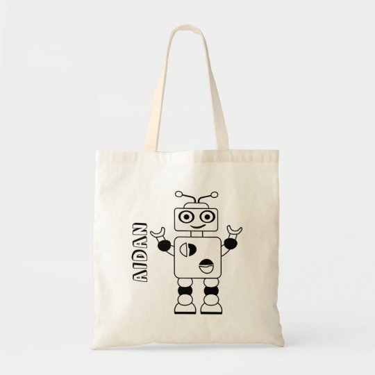 Colour Your Own Robot Kids Personalised Colouring Tote Bag