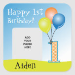 Coloured Balloons Child's 1st Birthday Photo Square Sticker
