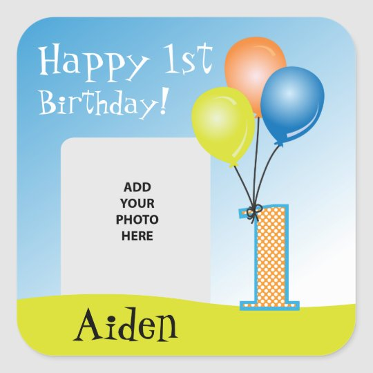 Coloured Balloons Child's 1st Birthday Photo Square Sticker