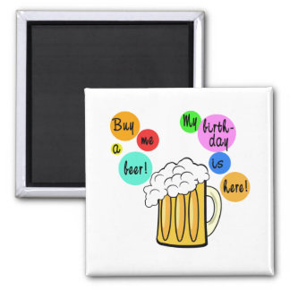Coloured Beer Bubbles Birthday Tshirt Square Magnet