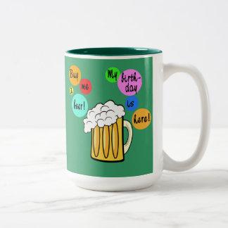 Coloured Beer Bubbles Birthday Tshirt Two-Tone Mug