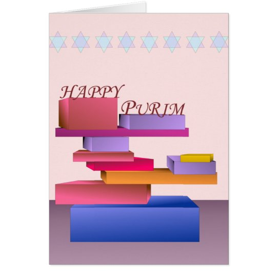 Coloured Blocks Happy Purim Card
