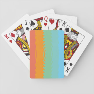 Coloured Blue, Green, Orange Ripple Playing Cards