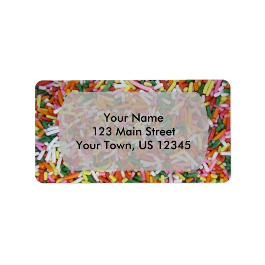 coloured Candy sprinkes Texture Template Label