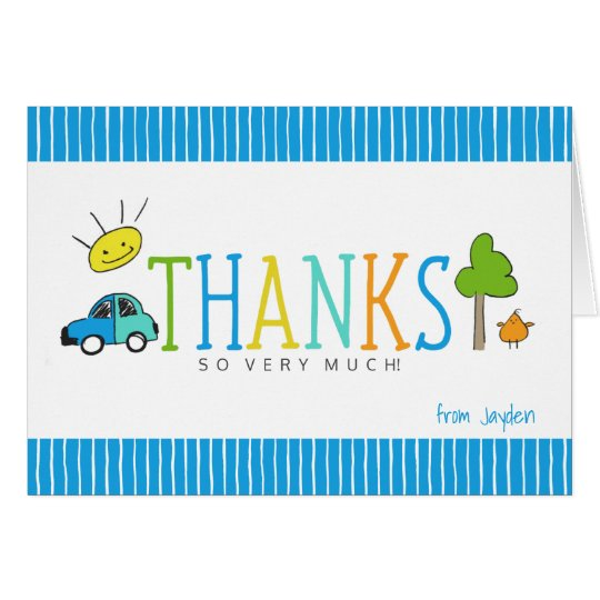 Coloured Doodles Thank You Note Card | Car