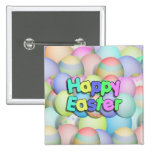 Coloured Easter Eggs - Happy Easter 15 Cm Square Badge