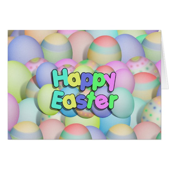 Coloured Easter Eggs - Happy Easter Card