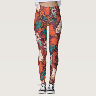 Coloured Flowers Pattern Leggings
