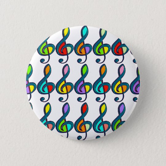 coloured G clef music notes pattern 6 Cm Round Badge