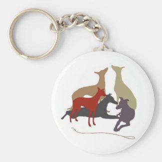 coloured greyhounds basic round button key ring